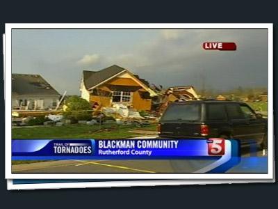 Tornado damage in Murfreesboro